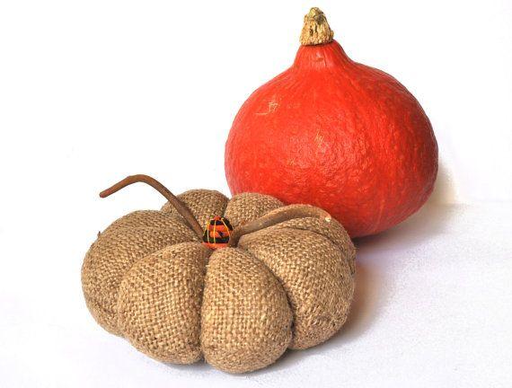 Halloween burlap pumpkin. Handmade from vintage grain sack Rustic home decor.