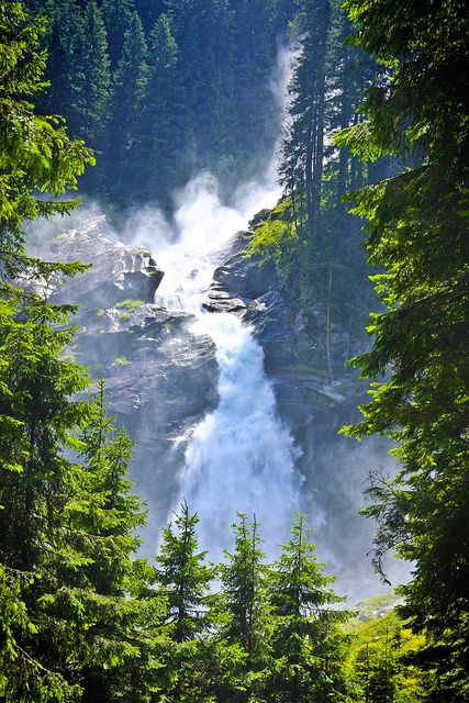 The Krimml Waterfalls (Krimmler Wasserfälle), with a total height of 380 metres (1,247 ft), are the highest waterfall in Austria. Krimmler Waterfalls is a tiered waterfall. The waterfall begins at the top of the Krimmler Ache valley, and plunges downward in three stages. The upper stage has a drop of 140 metres, the middle of 100 metres, and the lowest a drop of 140 metres