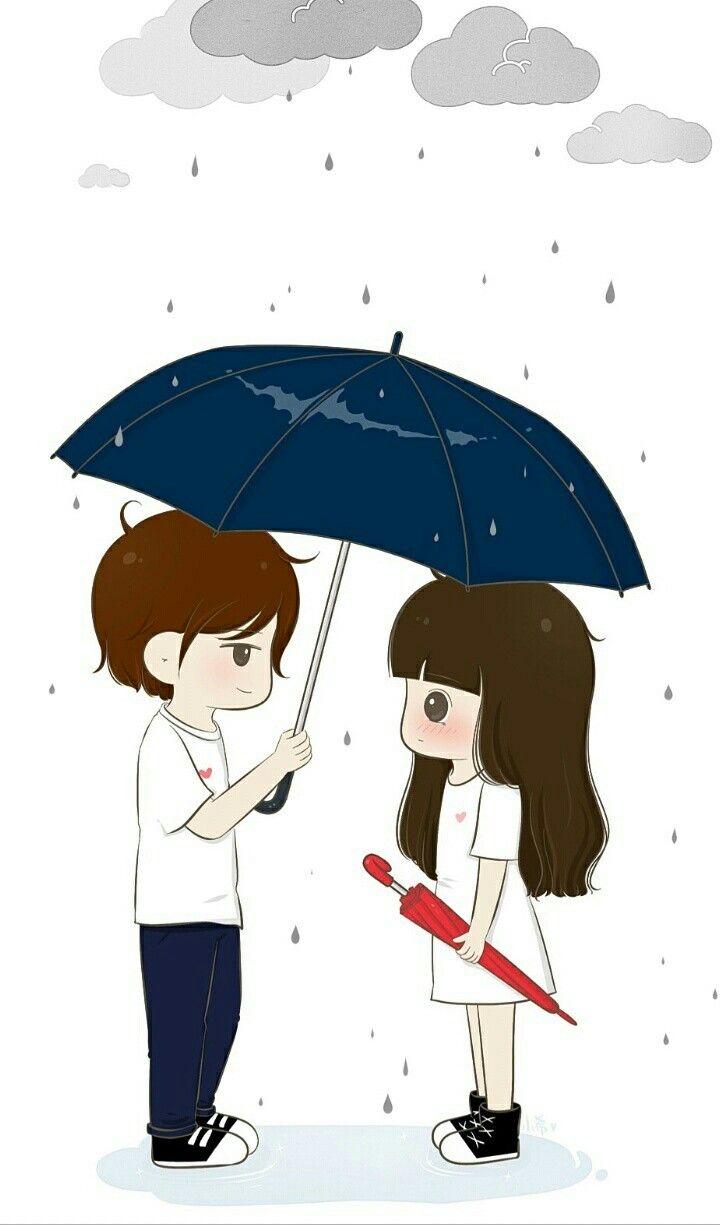 Rain cute love couple