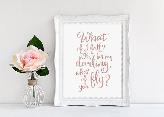 ♥ Rose Gold Calligraphy, What If I Fall Oh But My Darling, Cursive Quote Print ♥ ♥♥ DISCOUNT INFORMATION, SEE THE STORES HOME PAGE ♥♥ http://www.printablebeautyart.etsy.com Design by Irene Grape of Printable Beauty Art. THIS LISTING IS FOR AN INSTANT DOWNLOAD of both the PDF and