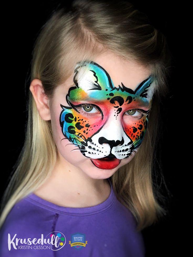 Rainbow leopard face paint