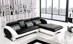 Divano angolare bianco e nero - Divano angolare nelle tinte fredde per un design moderno.