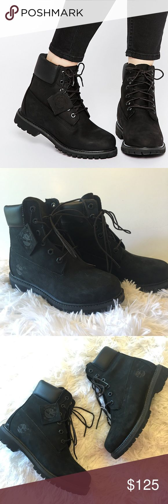 New Timberland Premium Black Lace Up Boots Super chic and perfectly on trend! Brand new and never worn. Size 6. Black. Lace up front. No trades!! 042017210nrk Timberland Shoes Ankle Boots & Booties