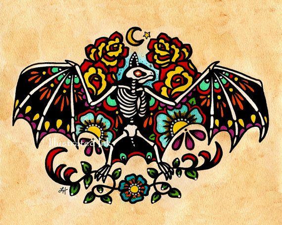 Vecchia scuola tatuaggio scheletro pipistrello di illustratedink
