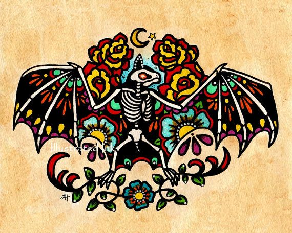 Old School Tattoo Skeleton BAT Day of the Dead Art Print 5 x 7 or 8 x 10 on Etsy, $9.50