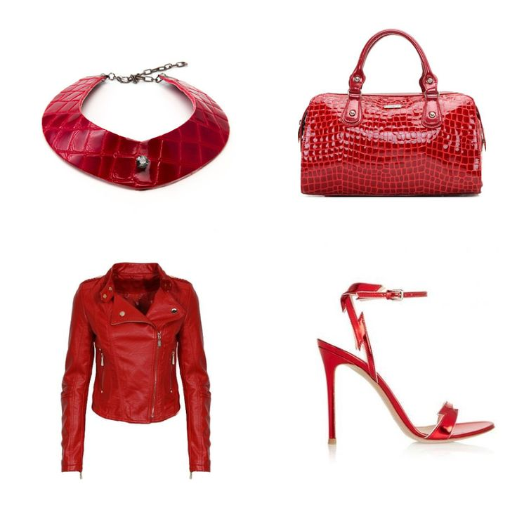 A little pop of red! Stylecuff red croc embossed leather collar necklace plus your jewelry.