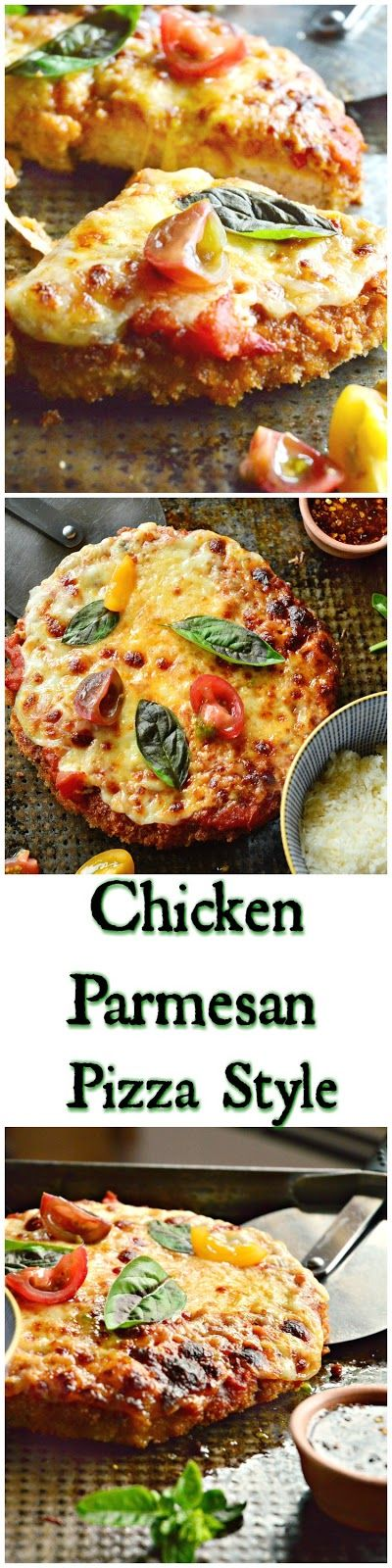 """This chicken parmesan pizza style is a giant golden fried chicken patty topped with tomato sauce and cheese. Drizzled with spicy honey this version of chicken parm will have you wishing you made more."""" www.thisishowicook.com"""