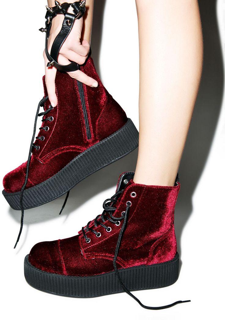 VELVET CREEPER BOOTS - $100.00 http://www.tukshoes.com/burgundy-mondo-boots