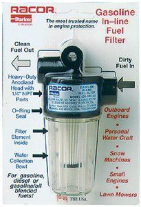 Spin On Fuel Filter Water Separator Gas Up To 25 Gph 3 25 Inches X 4 25 Inches In Line Gasoline Fuel Filters Are For Low Horsepower Outboard Engines Used In
