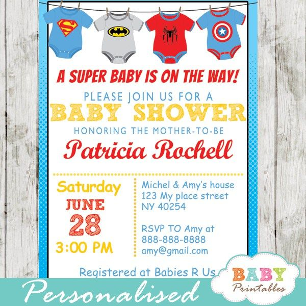 Printable superhero onesie baby shower invitation for boys. This personalized superbaby invitation features the cutest superhero bodysuits in red, blue and grey. #babyprintables