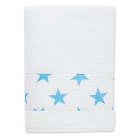 Coming to a bath tub near you, our fluro blue star toddler towel in terry and cotton muslin.