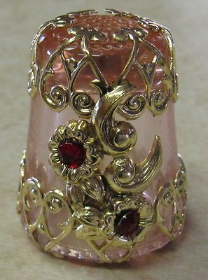 Gold Filigree Thimble 2 Elegant RED Flowers