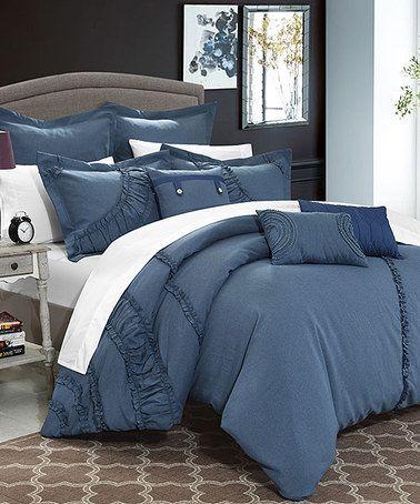 Loving this Eight-Piece Blue Comforter Set on #zulily! #zulilyfinds