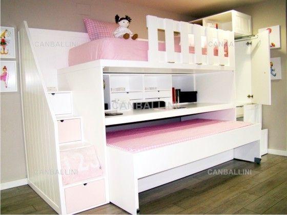 Armario Garaje Ikea ~ Litera con dos camas, cajones, escritorio extraible con estanteria y cajoncitos Armario con