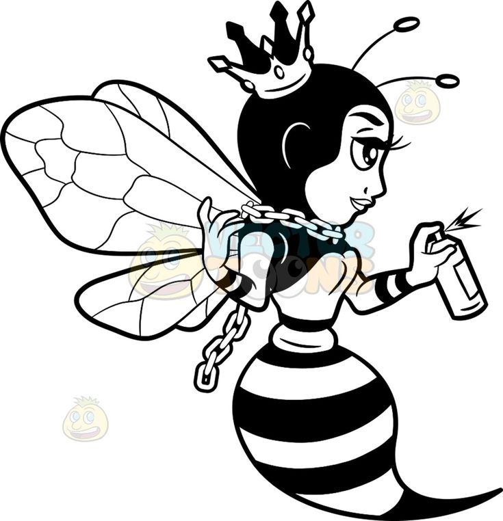 A queen bee spray painting the wall :  A black and white cartoon image of a queen bee with chain necklace and holding a spray paint in her left hand  The post A queen bee spray painting the wall appeared first on VectorToons.com.