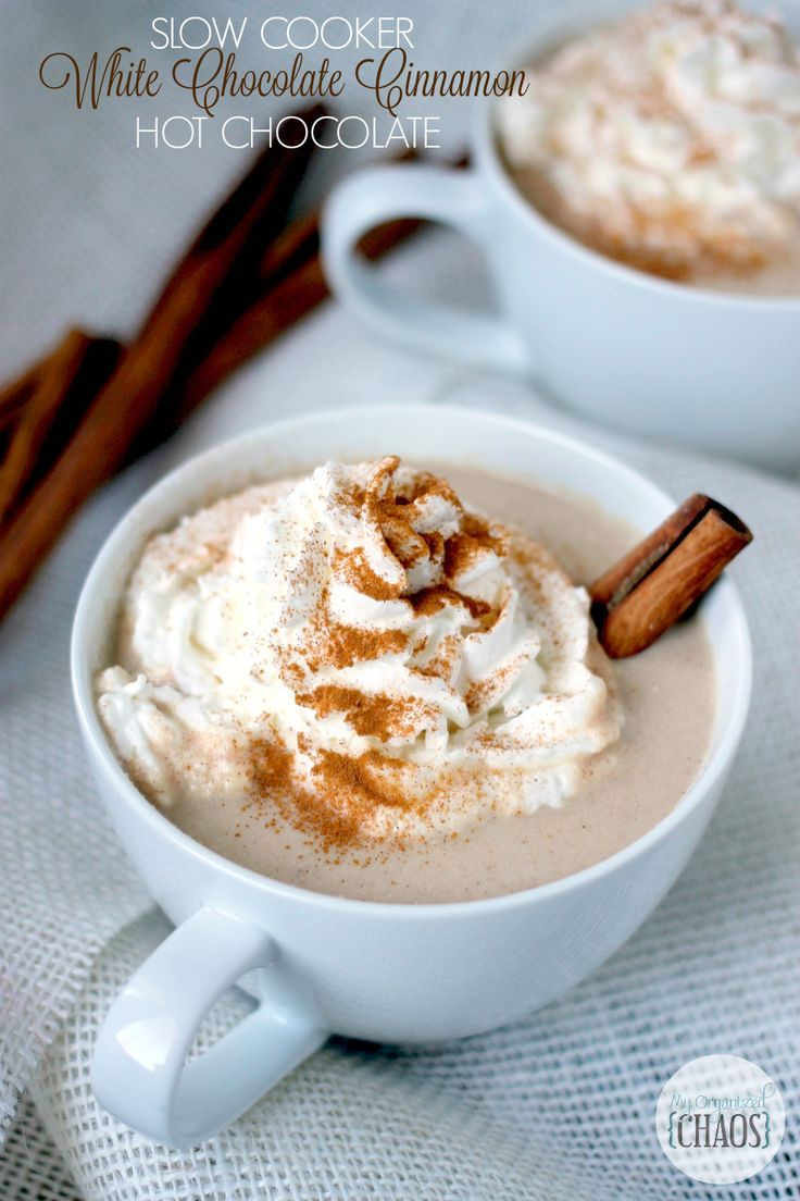 Slow Cooker White Chocolate Cinnamon Hot Chocolate, made in the rock pot and ready when you are! Rich, full of flavour and made with white hot chocolate.