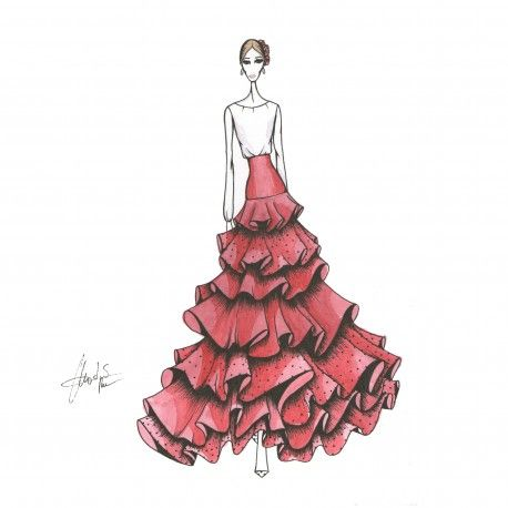 Patrón falda de flamenca de 7 volantes #moda #flamenca #patrones #volantes #lunares #sketch #dibujo #boceto #pintura #modelo