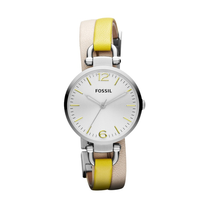 Fossil Georgia Leather Watch. An eye-catching piece for the season—Georgia's round stainless steel case gets a pop of color with bright yellow accents on the dial and straps.