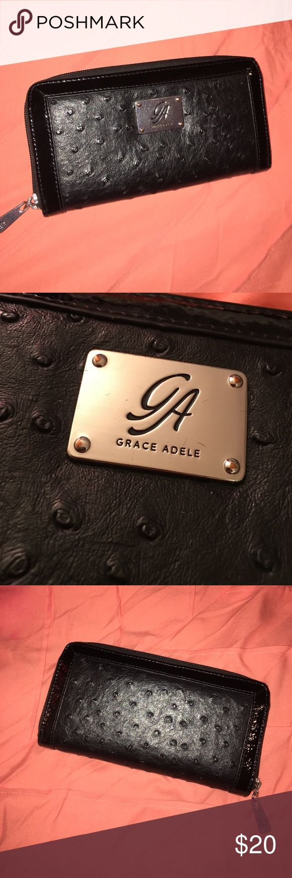 Grace Adele black zip wallet Grace Adele black zip up wallet. This is in excellent condition! With a lot of compartments for cards! Great wallet grace adele Bags Wallets