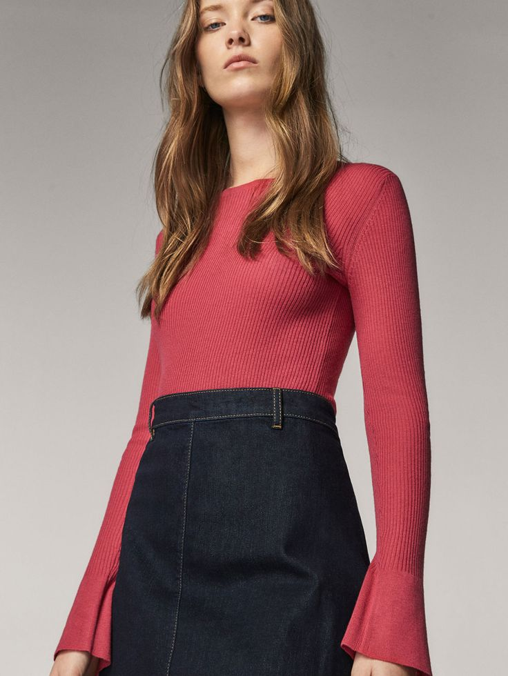RIBBED SWEATER WITH BELL DETAIL - Women - Massimo Dutti