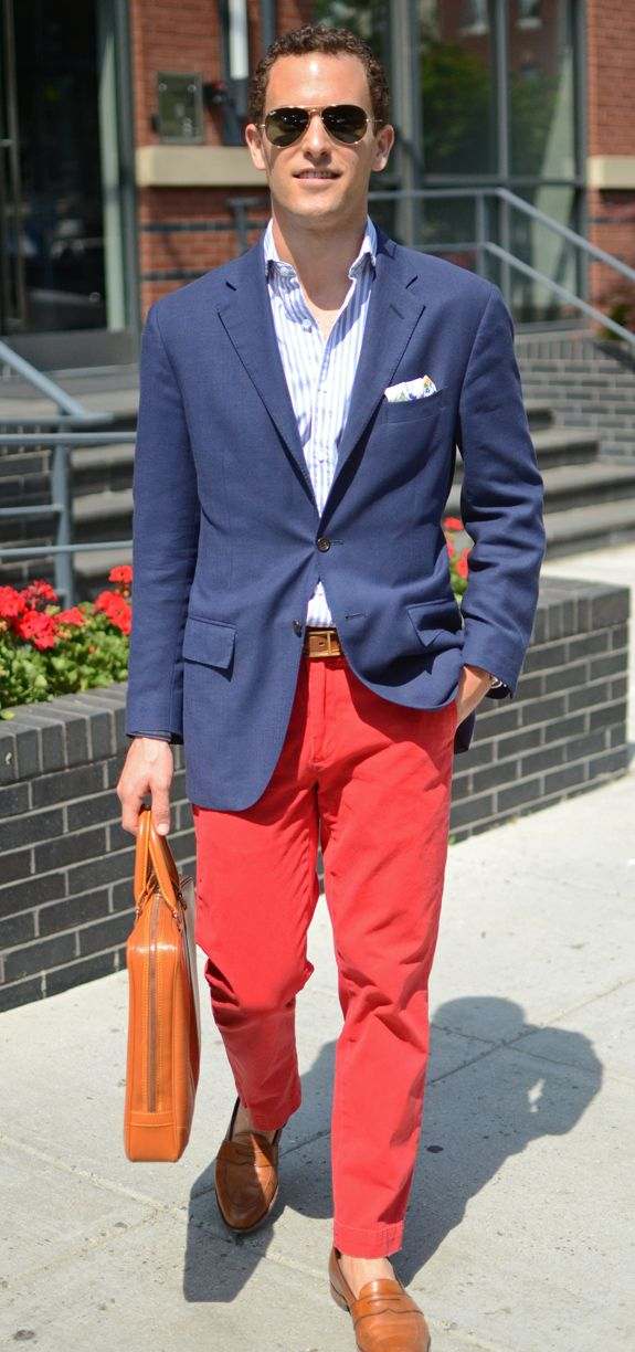 Colored Chinos Amp A Navy Blazer Van S Staple Look Shirt