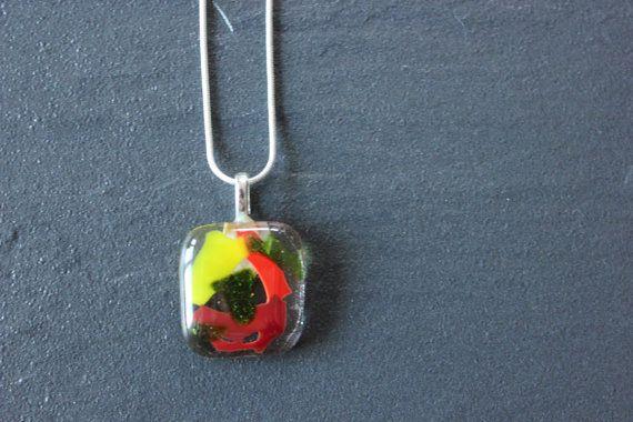 Confetti Glass Fused Pendant Handmade Yellow by GlassJewelleryByJ