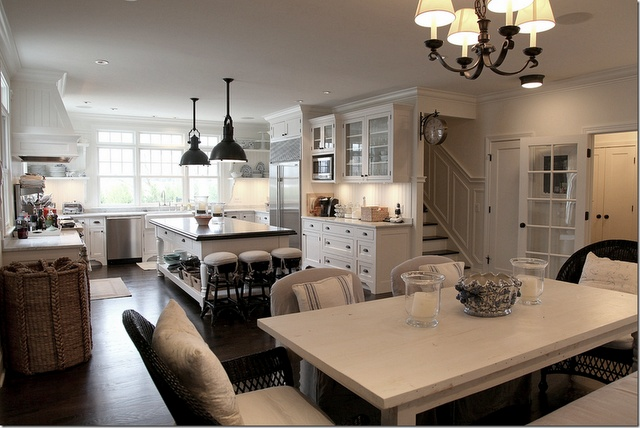 Dining Room, Dreams Kitchens, Open Spaces, Kitchens Ideas, Open Floors Plans, Cote De Texas, Open Kitchens, Dream Kitchens, White Kitchens