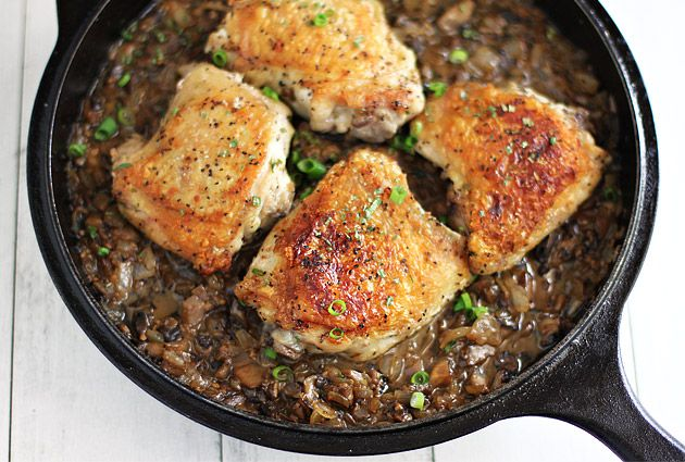Jacques Pepin's Crusty Chicken Thighs with Mushroom Sauce unequivocally, this is the EASIEST chicken recipe ever.