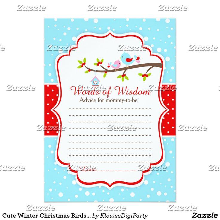 Cute Winter Christmas Birds Words of Wisdom Card