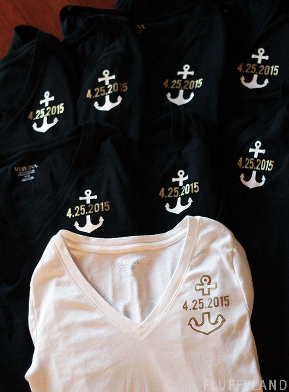 bridesmaid t-shirts - iron-on anchor + wedding date