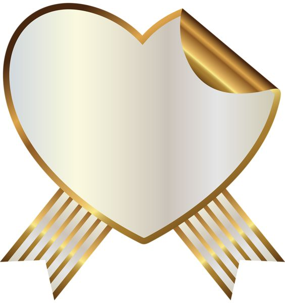 White and Gold Heart Seal with Ribbon PNG Clipart Image