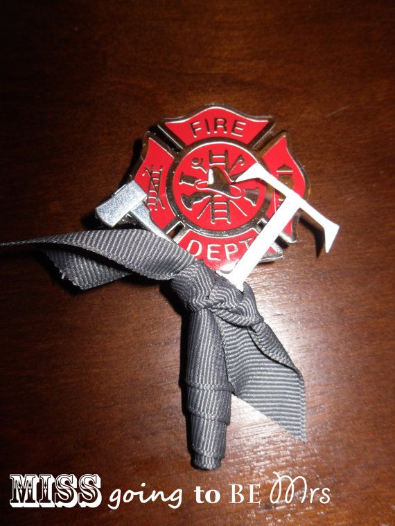 Firefighter Wedding Boutineer Boutineer by MissGoingToBeMrs