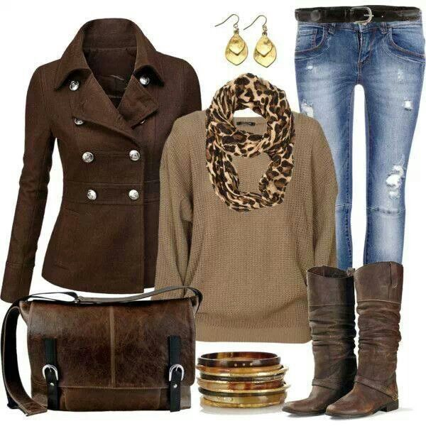 Love everything, but the boots- just get a different dark brown boot- and don't really need the coat