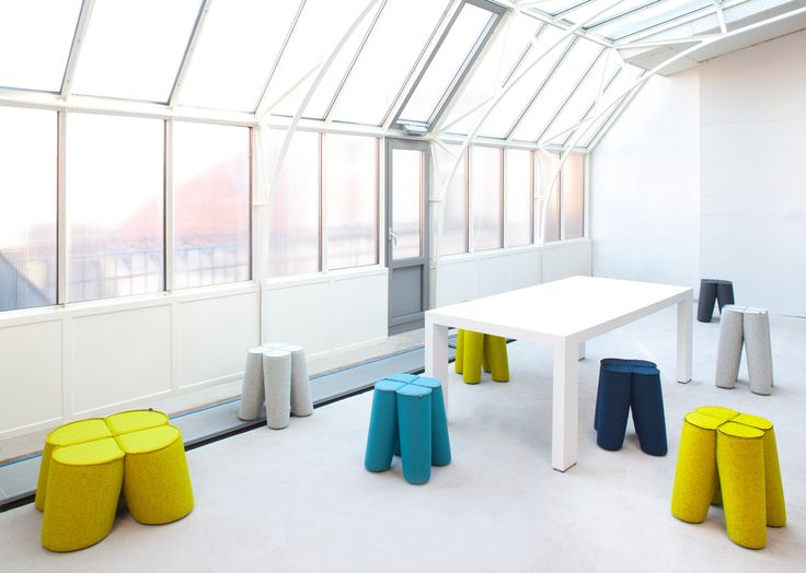 A variety of funky stools - Trefle designed by Noti and covered in Wool fabric from Dekoma