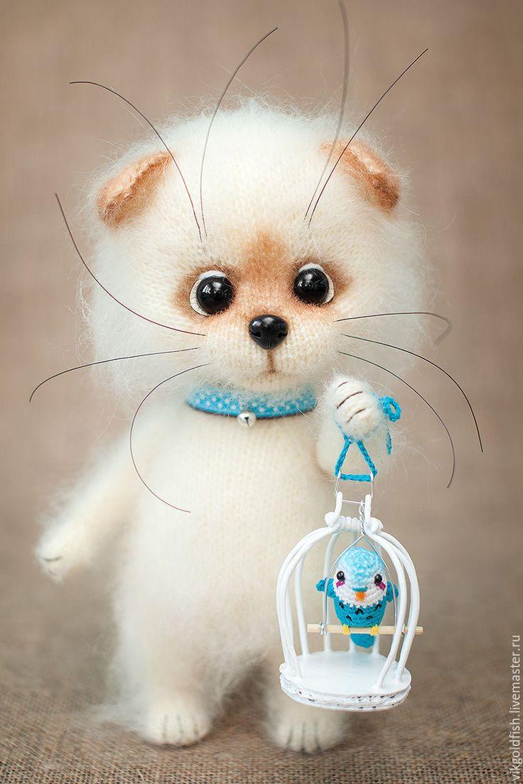 Купить Котенок Пухлик - бежевый, кот, котик, котик игрушка, котик вязаный, котенок