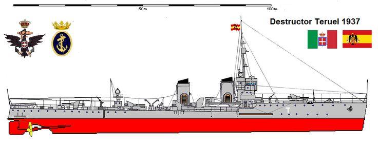 Perfiles navales Destructor Teruel 1937 Dicho destructor fue botado en 1915 en Italia, con el nombre de Guglielmo Pepe, y participó en la Primera Guerra Mundial. A finales de 1937 Italia cedió a la Marina nacional española los destructores italianos Guglielmo Pepe y Alessandro Poerio,a los que rebautizó Teruel y Huesca respectivamente.