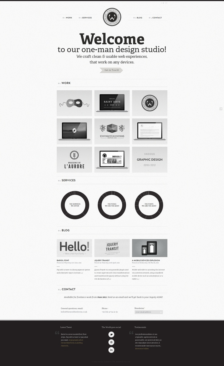 Nice black and white web layout