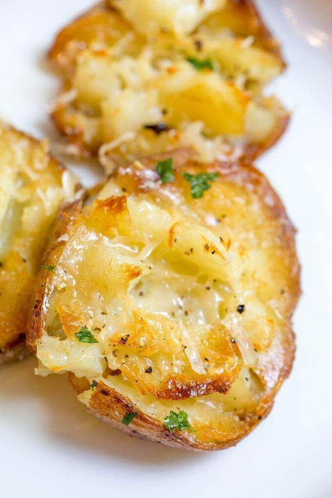 Parmesan Garlic Crash Hot Potatoes come out crispy, creamy, CHEESY, buttery and oh-so garlicky! They are made in one pan and no boiling is necessary!!! via @bestblogrecipes