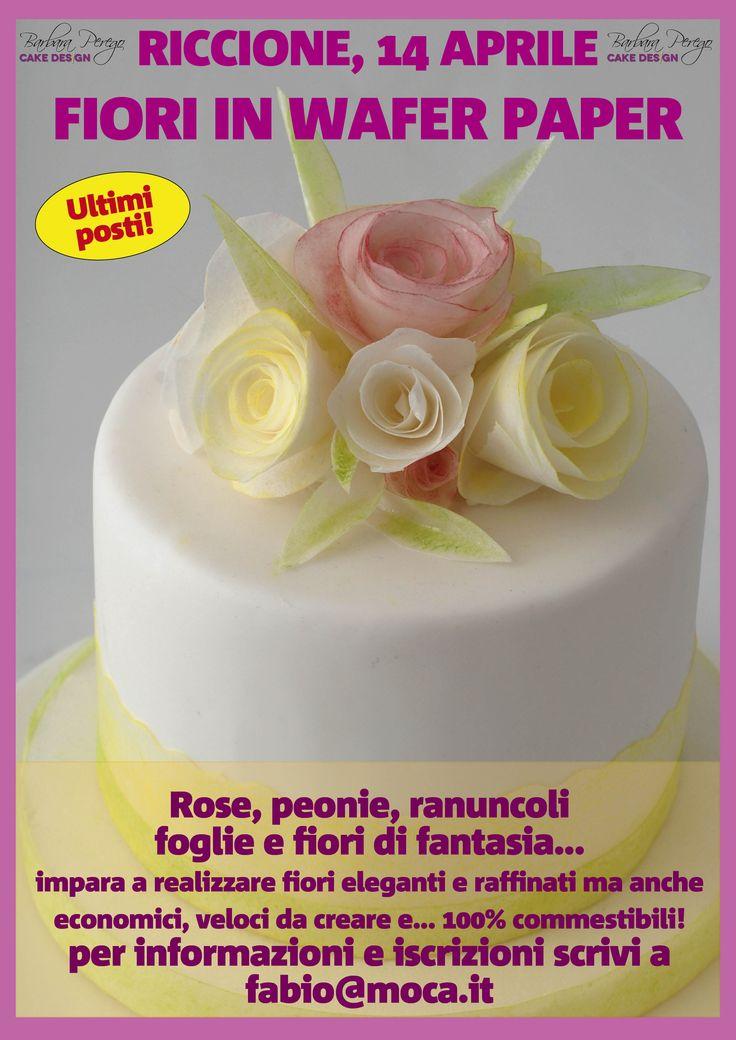 Ultimi posti per un bellissimo corso sui fiori in wafer paper a Riccione! Per informazioni scrivete a fabio@moca.it