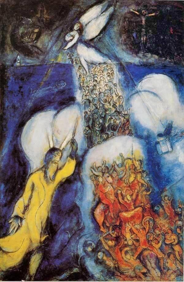 Marc Chagall, Il passaggio del mar rosso, olio su tela,1955. Centro Georges Pompidou, Parigi
