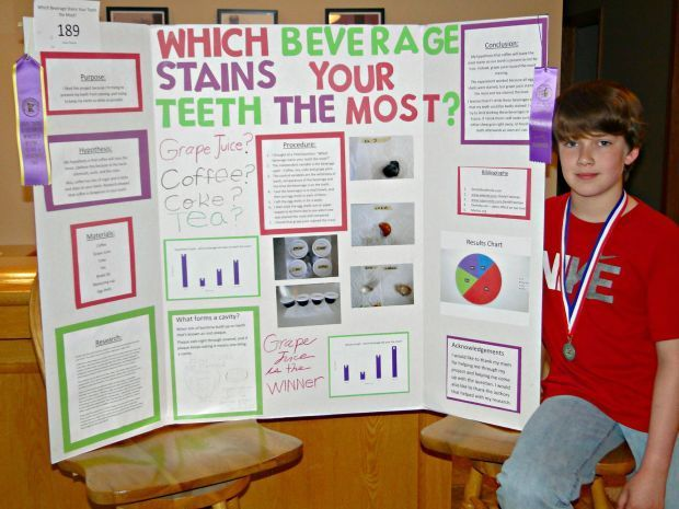 "Dylan Petsche recently attended the Southern Minnesota Regional Science Fair held at Minnesota State Mankato. His project, ""Which Beverage Stains Your Teeth The Most?"" was awarded a Purple ribbon and won a Silver Medal and Wal-Mart Gift Card. There were 61 school districts represented. Dylan used egg shells (eggshells and teeth share a compositional element, calcium) and soaked them in Coke, Tea, Coffee, and Grape Juice where Grape Juice stained the most. Dylan is in Mrs. Prchal's 5th Grade…"