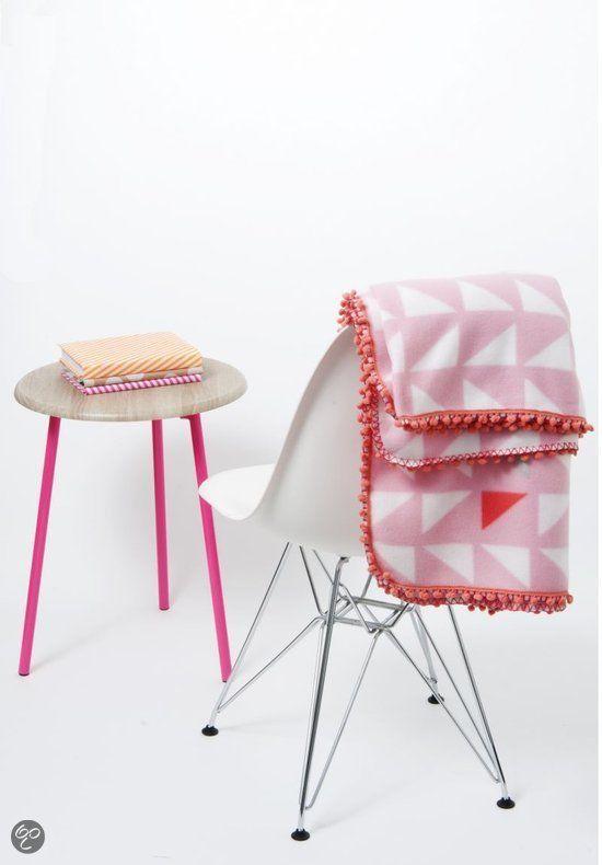 bol.com | Pt, Fleece deken Triangles - Roze | Wonen