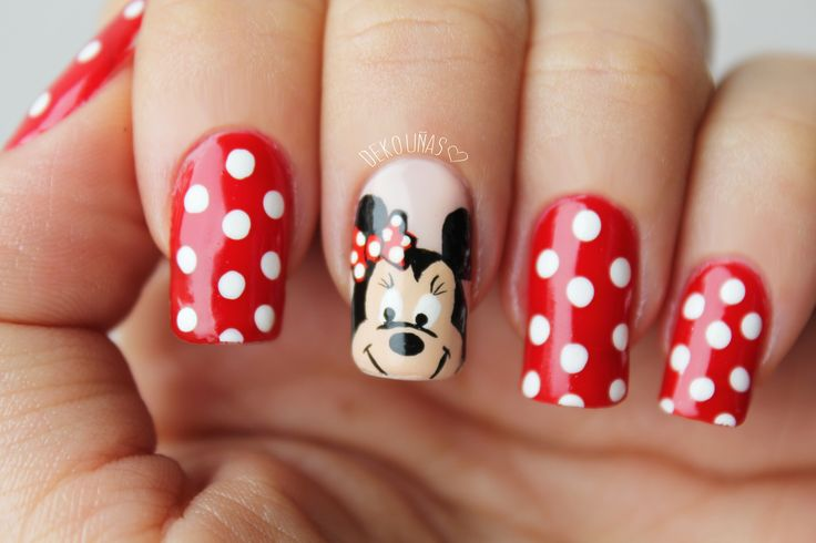 Decoración de uñas Minnie Mouse - Minnie mouse nail art. www.Dekounas.com Video-Tutorial: https://www.youtube.com/watch?v=yuDzZzM4iSg
