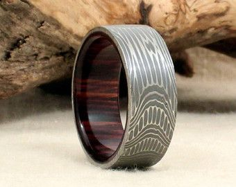 Damascus Steel and Wood Ring  Bourbon Barrel White Oak Stave