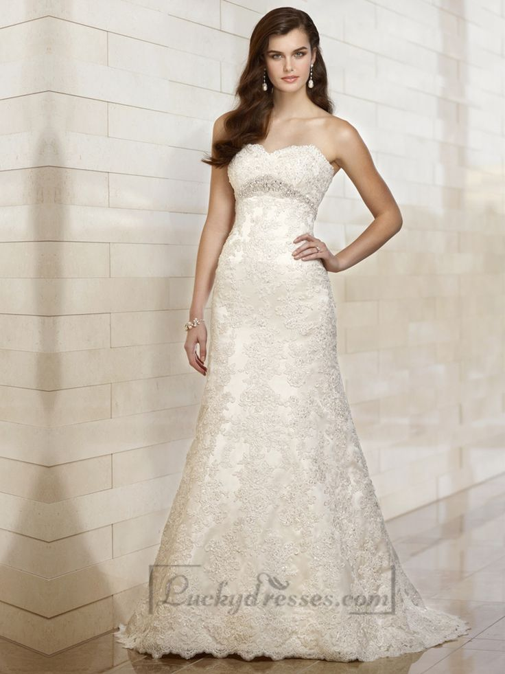Sweetheart A-line Beading Lace Appliques Wedding Dresses with Beading Belt Sale On LuckyDresses.com With Top Quality And Discount