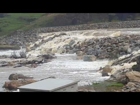 Water over the spillway at Mannus Dam