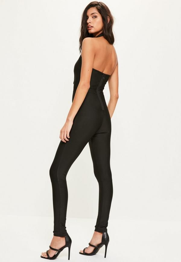 Look ballin' in bandage wearing this black jumpsuit - featuring lace up front details, a high neck and a bandeau style top.