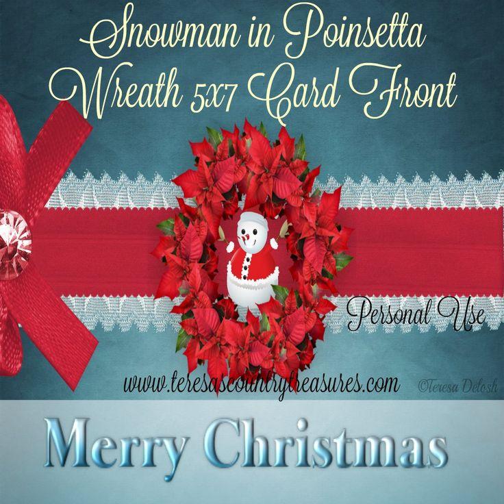 #Snowman in #Poinsettia #Wreath 5 x 7 #Card Front #Printable