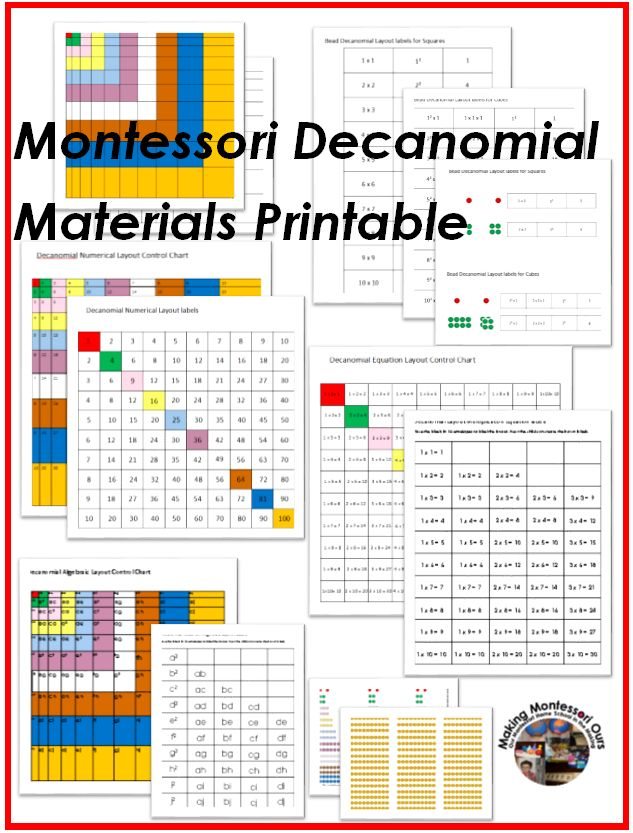 Montessori Decanomial Geometric Layout Cards Montessori Decanomial Geometric Layout  Control Chart Black line Copy for colouring or labeling...