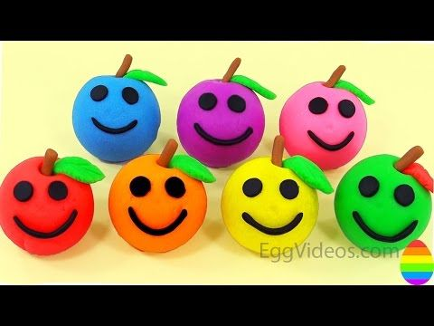 Learn Colors Play Doh | Apples Smiley Face with Chip and Dale Molds Fun and Creative for Babies - YouTube